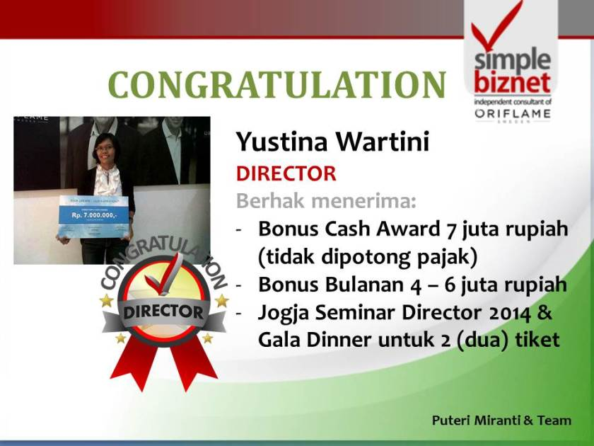 Rekognisi Yustina Wartini sebagai New Director