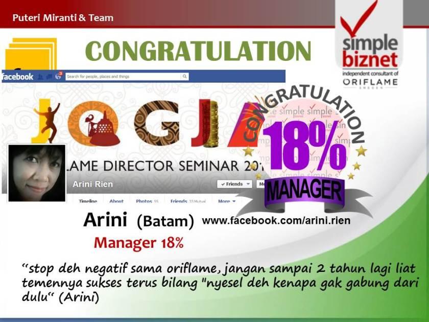 New Achiever Manager 18%: Arini (Batam)